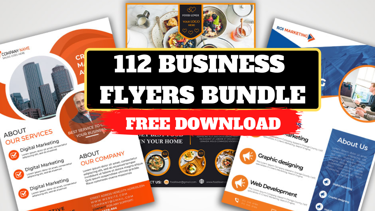 112 Clean Business Flyers Bundle Free Download